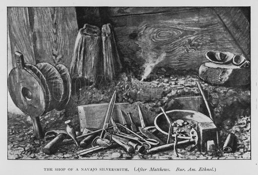 The shop of a Navajo Silversmith. Illustration for The Origins of Invention, A Study of Industry among Primitive Peoples, by Otis T Mason (Walter Scott, 1895).