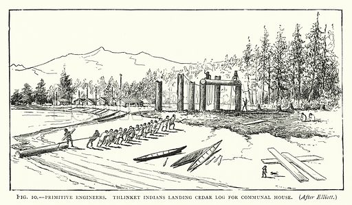 Primitive Engineers, Thlinket Indians landing cedar log for communal house. Illustration for The Origins of Invention, A Study of Industry among Primitive Peoples, by Otis T Mason (Walter Scott, 1895).