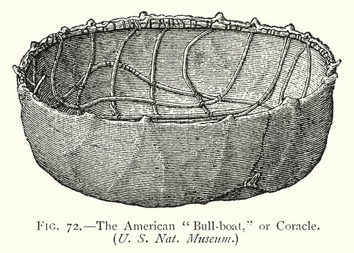 "The American ""Bull-boat,"" or Coracle. Illustration for The Origins of Invention, A Study of Industry among Primitive Peoples, by Otis T Mason (Walter Scott, 1895)."