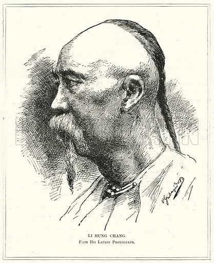 Li Hung Chang. Illustration for The Review of Reviews edited by W T Stead VOL XI (January-June, 1895).