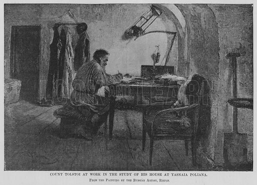 Count Tolstoi at work in the study of his house at Yasnaia Poliana. Illustration for The Review of Reviews edited by W T Stead VOL XI (January-June, 1895).