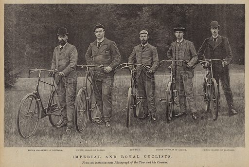 Imperial and royal cyclists. Illustration for The Review of Reviews edited by W T Stead VOL XI (January-June, 1895).