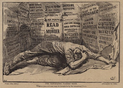 The newspaper padded room. Illustration for The Review of Reviews edited by W T Stead VOL XI (January-June, 1895).