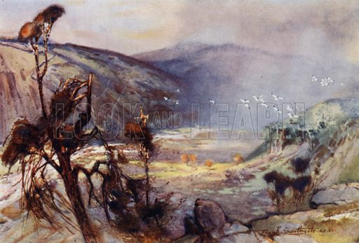 Storm in the Cheviots. Illustration for The Romance of Northumberland by A G Bradley with illustrations by Frank Southgate (Methuen, 1908).