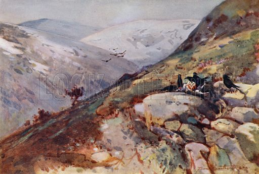 Near Kielder. Illustration for The Romance of Northumberland by A G Bradley with illustrations by Frank Southgate (Methuen, 1908).