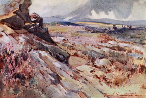 On the Roman Wall. Illustration for The Romance of Northumberland by A G Bradley with illustrations by Frank Southgate (Methuen, 1908).