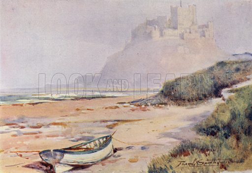 Bamburgh Castle. Illustration for The Romance of Northumberland by A G Bradley with illustrations by Frank Southgate (Methuen, 1908).