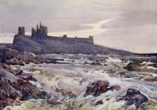 Dunstanburgh Castle. Illustration for The Romance of Northumberland by A G Bradley with illustrations by Frank Southgate (Methuen, 1908).