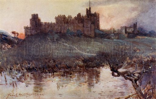 Alnwick Castle. Illustration for The Romance of Northumberland by A G Bradley with illustrations by Frank Southgate (Methuen, 1908).