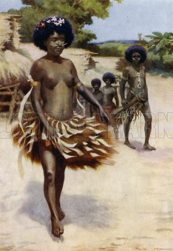 Off to the Dubu Dance, British New Guinea. Illustration for The Savage South Seas described by E Way Elkington (A&C Black, 1907).