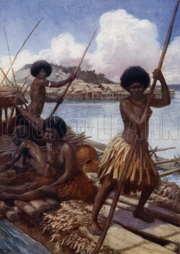 Off to Market, British New Guinea. Illustration for The Savage South Seas described by E Way Elkington (A&C Black, 1907).