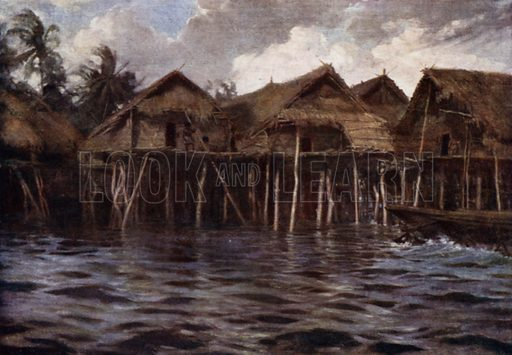 Motu Village from the Sea. Illustration for The Savage South Seas described by E Way Elkington (A&C Black, 1907).