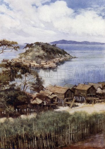 The Island of Elevera from the Mission Station, Port Moresby, British New Guinea. Illustration for The Savage South Seas described by E Way Elkington (A&C Black, 1907).