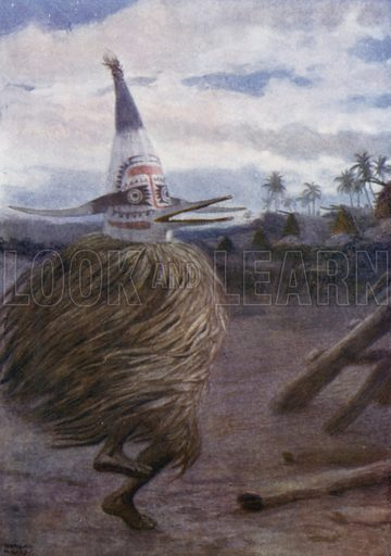 A Kaivakuku, Roro Tribe, Central Division, British New Guinea. Illustration for The Savage South Seas described by E Way Elkington (A&C Black, 1907).