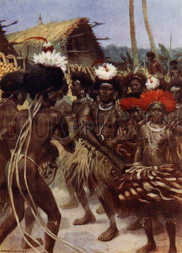 Harvest Dance, New Guinea. Illustration for The Savage South Seas described by E Way Elkington (A&C Black, 1907).