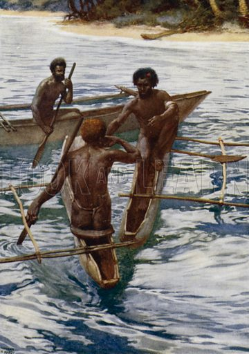 Natives of the New Hebrides having a drink. Illustration for The Savage South Seas described by E Way Elkington (A&C Black, 1907).