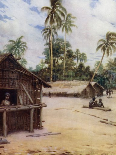 Solomon Island Village, near Marau Sound, New Florida. Illustration for The Savage South Seas described by E Way Elkington (A&C Black, 1907).