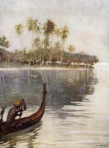 Early Morning, Gavutu, Solomon Islands. Illustration for The Savage South Seas described by E Way Elkington (A&C Black, 1907).