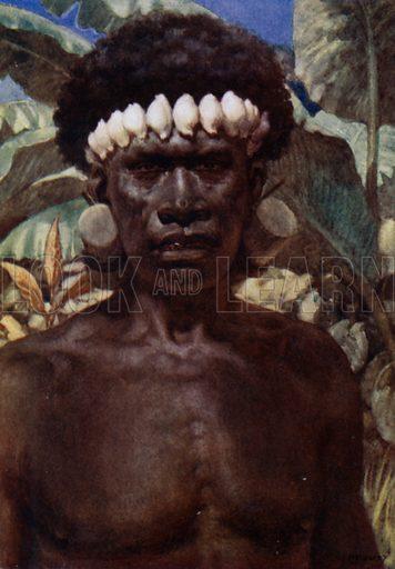 Portrait of a Solomon Island Cannibal. Illustration for The Savage South Seas described by E Way Elkington (A&C Black, 1907).