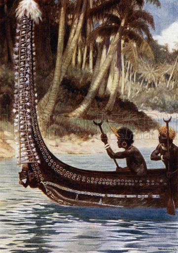 """A Canoe showing the """"Totoishu,"""" New Georgia, Solomon Islands. Illustration for The Savage South Seas described by E Way Elkington (A&C Black, 1907)."""