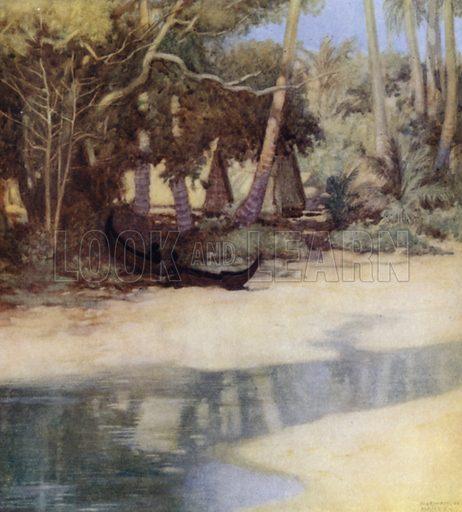 A Lagoon in New Florida, Solomon Islands. Illustration for The Savage South Seas described by E Way Elkington (A&C Black, 1907).