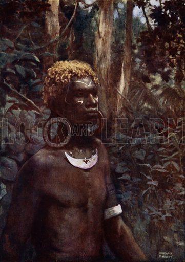 A Rubiana Native, Solomon Islands. Illustration for The Savage South Seas described by E Way Elkington (A&C Black, 1907).