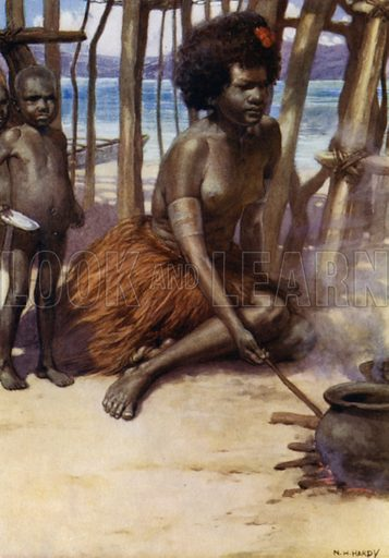 Cooking the Meal, British New Guinea. Illustration for The Savage South Seas described by E Way Elkington (A&C Black, 1907).