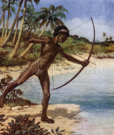 Native Archer shooting Fish, British Solomon Islands. Illustration for The Savage South Seas described by E Way Elkington (A&C Black, 1907).