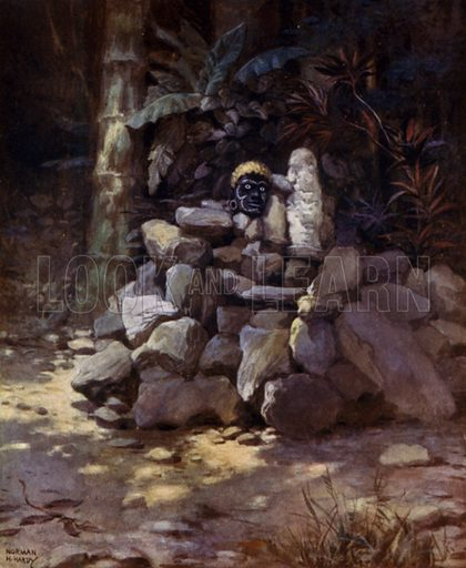 A Shrine or Tomb of a Chief at Simbo, Solomon Islands. Illustration for The Savage South Seas described by E Way Elkington (A&C Black, 1907).