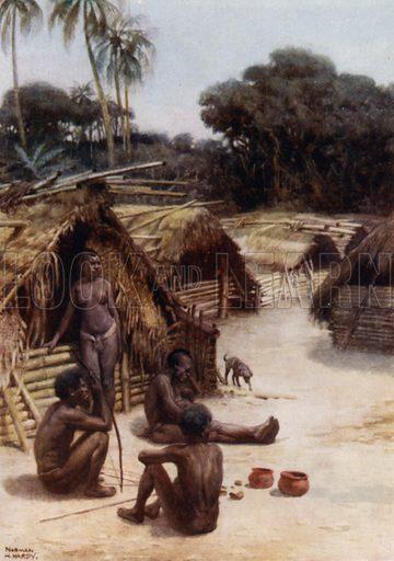 A Village in Santo, New Hebrides. Illustration for The Savage South Seas described by E Way Elkington (A&C Black, 1907).
