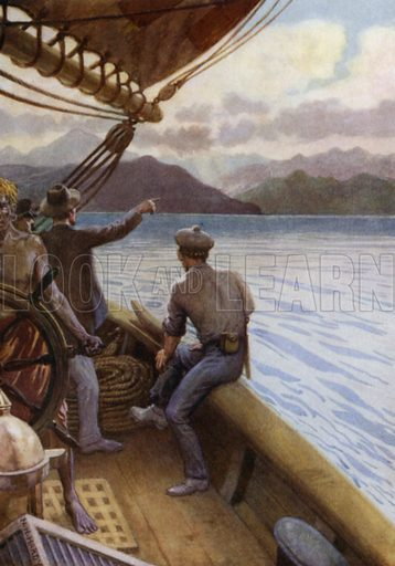 Leaving Santo, a view of the Mountains, New Hebrides. Illustration for The Savage South Seas described by E Way Elkington (A&C Black, 1907).