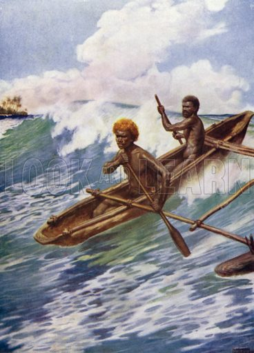 Passing the Reef, Aoba, New Hebrides. Illustration for The Savage South Seas described by E Way Elkington (A&C Black, 1907).