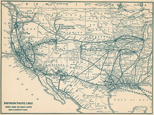 Southern Pacific Lines, Sunset, Ogden and Shasta Routes and Connections. Illustration for The Shasta Route, In all its Grandeur, A scenic guide book from San Francisco, California to Portland, Oregon (Curt Tech, 1923).