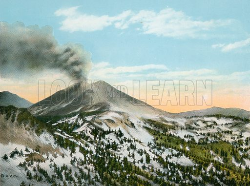 Mount Lassen in Eruption. Illustration for The Shasta Route, In all its Grandeur, A scenic guide book from San Francisco, California to Portland, Oregon (Curt Tech, 1923).