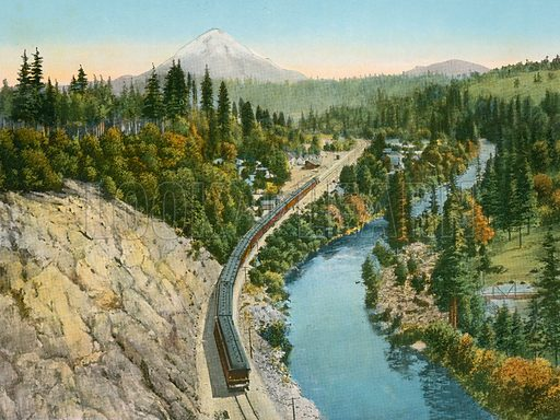 Sacramento River and Mount Shasta from Castella. Illustration for The Shasta Route, In all its Grandeur, A scenic guide book from San Francisco, California to Portland, Oregon (Curt Tech, 1923).