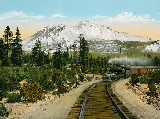 Mount Shasta from Point near Edgewood. Illustration for The Shasta Route, In all its Grandeur, A scenic guide book from San Francisco, California to Portland, Oregon (Curt Tech, 1923).