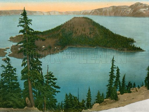 Wizard Island, Crater Lake. Illustration for The Shasta Route, In all its Grandeur, A scenic guide book from San Francisco, California to Portland, Oregon (Curt Tech, 1923).