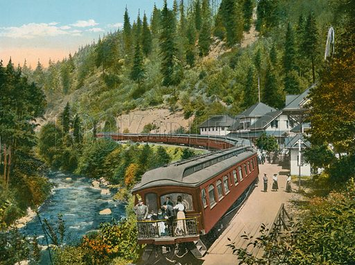 Shasta Springs, California. Illustration for The Shasta Route, In all its Grandeur, A scenic guide book from San Francisco, California to Portland, Oregon (Curt Tech, 1923).