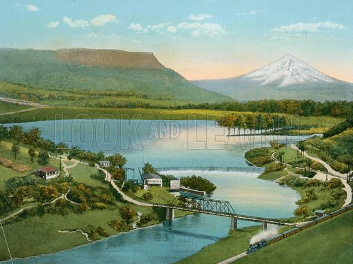 Gold Ray Dam, showing Table Mountain and Rogue River. Illustration for The Shasta Route, In all its Grandeur, A scenic guide book from San Francisco, California to Portland, Oregon (Curt Tech, 1923).