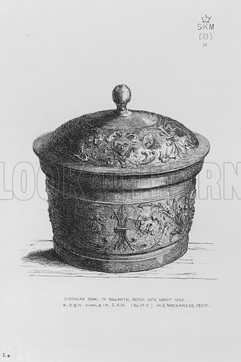 Circular Bowl in bell-metal, Dutch, date about 1600. Illustration for The South Kensington Museum, Examples of the Works of Art in the Museum and of the Decorations of the Building with Brief Descriptions (1881).
