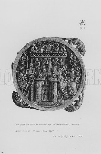 Lid or Cover of a Circular Mirror Case, in carved ivory, French, early part of 14th century. Illustration for The South Kensington Museum, Examples of the Works of Art in the Museum and of the Decorations of the Building with Brief Descriptions (1881).