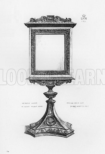 Metallic Mirror in carved walnut frame, Italian, 1540-50. Illustration for The South Kensington Museum, Examples of the Works of Art in the Museum and of the Decorations of the Building with Brief Descriptions (1881).