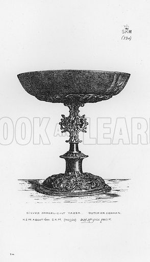 Silver Parcel-Gilt Tazza, Dutch or German, about 1600. Illustration for The South Kensington Museum, Examples of the Works of Art in the Museum and of the Decorations of the Building with Brief Descriptions (1881).