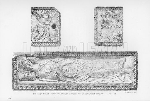 Bas Relief, marble, Altar or Shrine of Female Saint, by Donatello, Italian, c 1450-60. Illustration for The South Kensington Museum, Examples of the Works of Art in the Museum and of the Decorations of the Building with Brief Descriptions (1881).