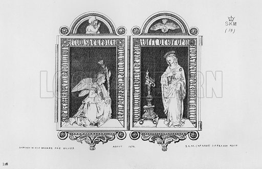 Dyptych in gilt bronze and silver, about 1470. Illustration for The South Kensington Museum, Examples of the Works of Art in the Museum and of the Decorations of the Building with Brief Descriptions (1881).