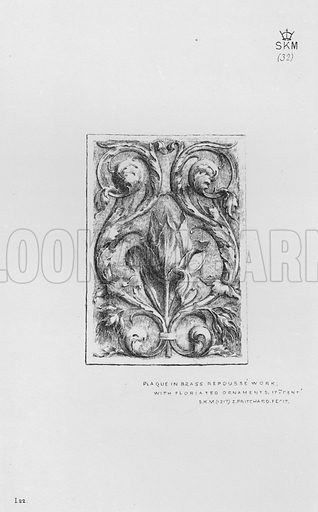 Plaque in brass repousse work, with Floriated Ornaments, 17th century. Illustration for The South Kensington Museum, Examples of the Works of Art in the Museum and of the Decorations of the Building with Brief Descriptions (1881).