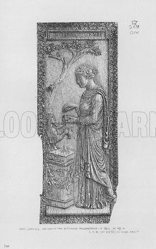 Ivory carving, one leaf of the Diptychon Meleretense. Illustration for The South Kensington Museum, Examples of the Works of Art in the Museum and of the Decorations of the Building with Brief Descriptions (1881).