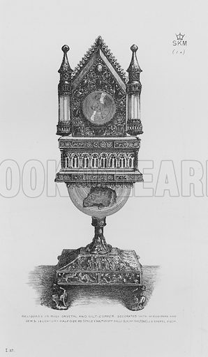 Reliquary in rock crystal and gilt-copper, decorated with Niello work and gems, 14 century. Illustration for The South Kensington Museum, Examples of the Works of Art in the Museum and of the Decorations of the Building with Brief Descriptions (1881).