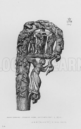 Ivory carving, Crozier Head, date 14th century. Illustration for The South Kensington Museum, Examples of the Works of Art in the Museum and of the Decorations of the Building with Brief Descriptions (1881).