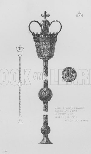 Mace, silver, English, dated 1696. Illustration for The South Kensington Museum, Examples of the Works of Art in the Museum and of the Decorations of the Building with Brief Descriptions (1881).